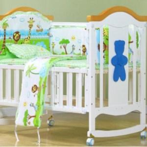 USTORE 100*58cm 5pcs/Set Promotion Cotton Baby Children Bedding Set green - intl