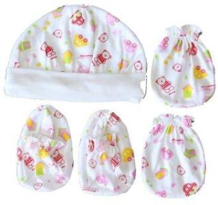 Attoon ชุดหมวก ถุงมือ ถุงเท้า เด็กแรกเกิด ผ้า Cotton - สีชมพู