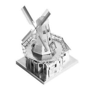 3D Mini Metal Puzzles Dutch Windmill - Silver
