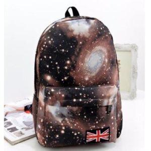 Bag Fashion กระเป๋าเป้สะพายหลัง กระเป๋าลายกราฟฟิก ฟรุ้งฟริ้ง รุ่น666 (สีน้ำตาล)