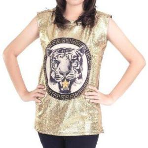 All about Fashionista เสื้อแขนกุด Tiger Rock Glam (Gold)
