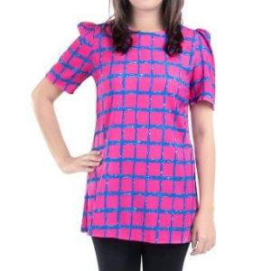 All about Fashionista เสื้อตัวยาว Retro Fashion Grid in Pink