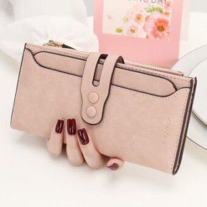 KQueenStar กระเป๋าสตางค์สตรีแบบซิปกระดุม (สีชมพู)