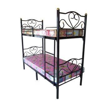 Asia เตียงเหล็ก2ชั้น 3.5ฟุต สีดำ พร้อมที่นอนใยยาง ขนาด3.5ฟุต 2ใบ