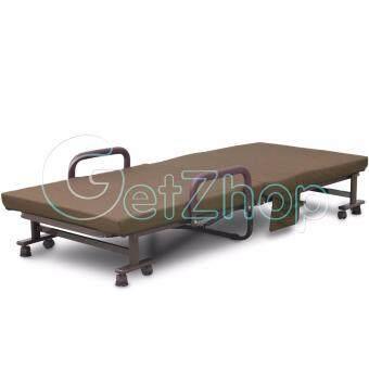 Getzhop เตียงเสริมพับได้ เตียงนอนพับได้ เตียงเหล็ก พร้อมเบาะรองนอน Premiumreinforce folding bed (สีน้ำตาล) แถมฟรี! ผ้าคลุมเตียง ผ้าห่ม หมอน (คละสี) pantip