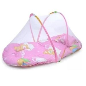 Minlane Kids Pink ที่นอนเด็กแบบพกพาพร้อมมุ้งครอบกันยุงและแมลง มีดนตรี (สีชมพู)