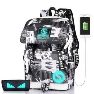 Fashion Noctilucent Men's Backpack Anime Luminous Casual Backpack(Transformers) - intl
