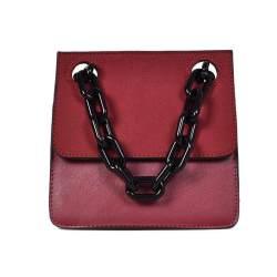 Casual Acrylic Chains Lattice Shoulder Bag Women Handbags Crossbody Bags Lady Brands Small Pu Leather Flap Bolsa Messenger Bags