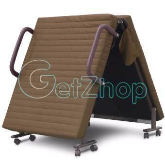 Getzhop เตียงเสริมพับได้ เตียงนอนพับได้ เตียงเหล็ก พร้อมเบาะรองนอน Premiumreinforce folding bed (สีน้ำตาล) แถมฟรี! ผ้าคลุมเตียง ผ้าห่ม หมอน (คละสี) ดีไหม
