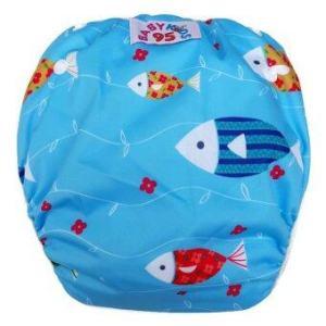 BABYKIDS95 กางเกงผ้าอ้อมว่ายน้ำ ลงสระ ปรับขนาดได้ ไซส์เด็กแรกเกิด-7 กก. ลายปลา (สีฟ้า)