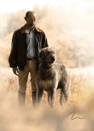 Retrato da amizade de um cão e um homem. Portugal.