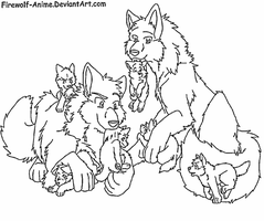 Pack of Wolves Lineart by Firewolf-Anime on DeviantArt