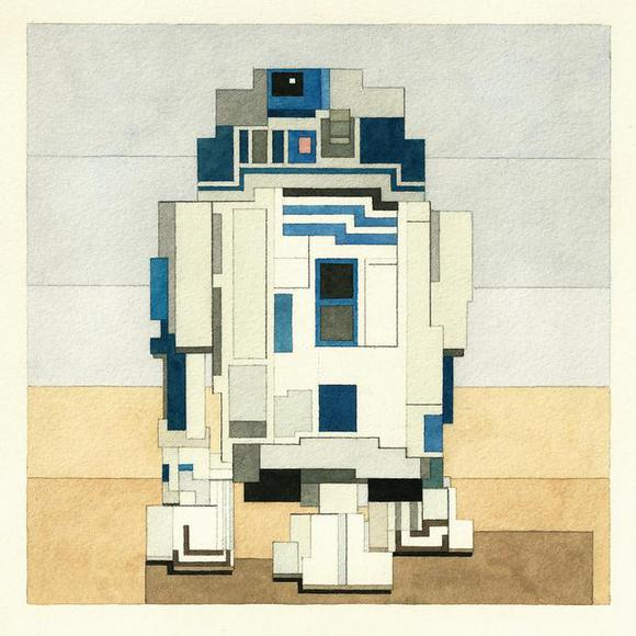 Geomatrical Star Wars Characters R2D2