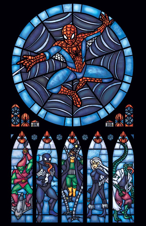 Iconic Stained Glass Spiderman
