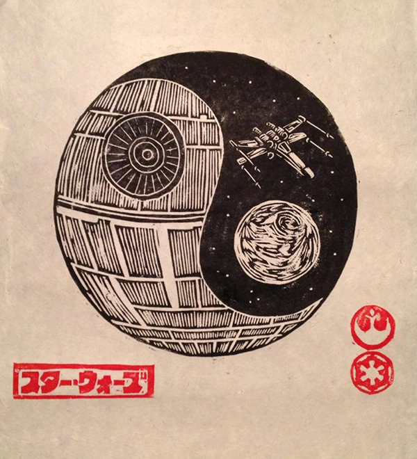 woodcut art by brian reedy death planet