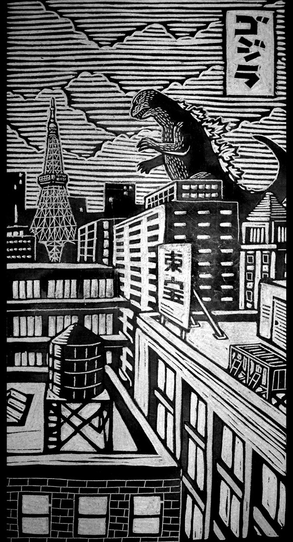 woodcut art by brian reedy king kong