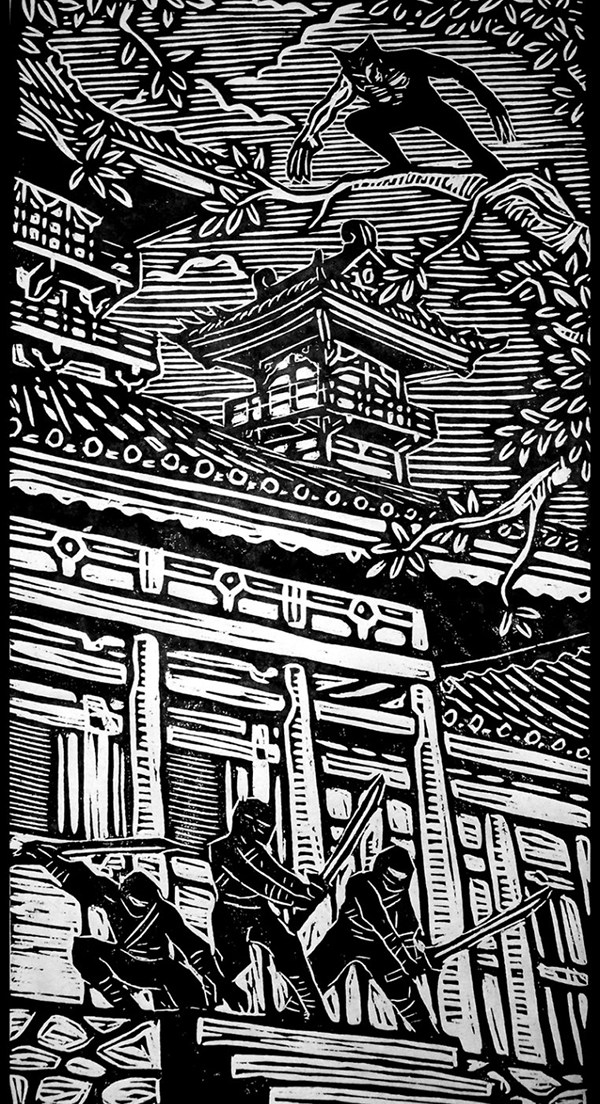 woodcut art by brian reedy wolverine
