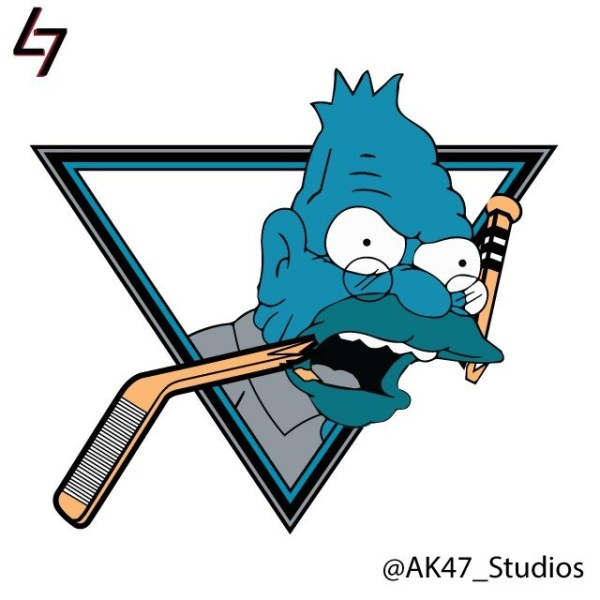 Simpsonized NHL Logos Abe Simpson