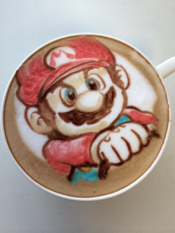 Colorful Caffe Latte Art Super Mario