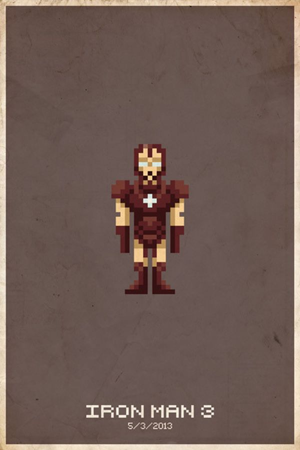 Comic Book Pixel Art Movie Character by Michael Myers iron Man