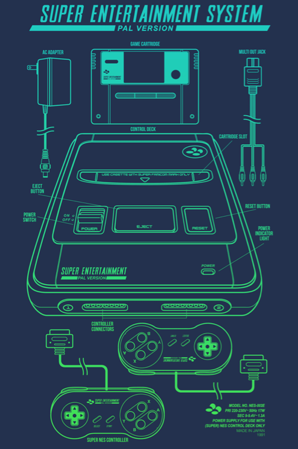 Classic Console Blueprints Designs by Adam Rufino Super Famicom