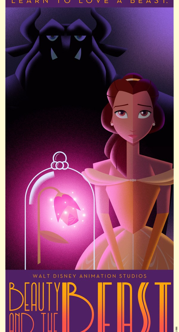Disney Art Poster by David G. Ferrero Beauty and the Beast
