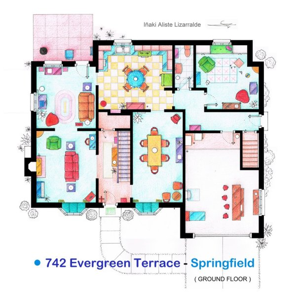 Floor Plans of Popular TV and Film Homes by Iñaki Aliste Lizarralde Simpsons Ground Floor