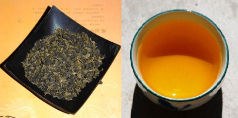 Taiwan Oolong Tee Ruan Zhi Oolong Nr. 17 Tee gerollt und in der Tasse