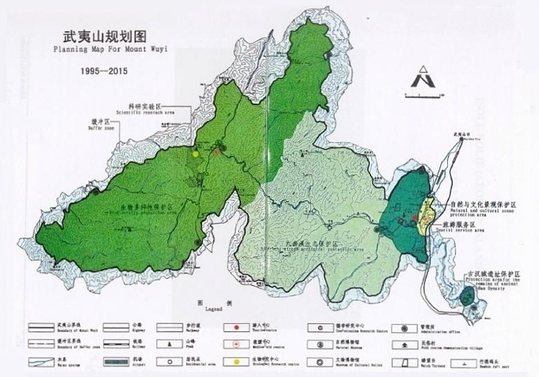 Planungskarte für Mount Wuyi, UNESCO Schutzzonen