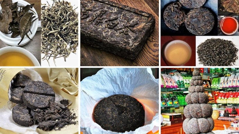 Pu Erh tea - different press forms and unpressed, sheng and shou, liquor colors