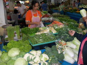 Phitsanulok market-vegetables, cauliflowers, broccoli,cabbage and other greens
