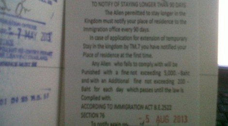 90 day notice thai immigration 2013