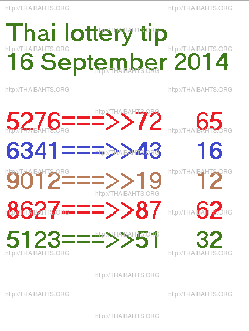 16 September 2014 thai lottery tip