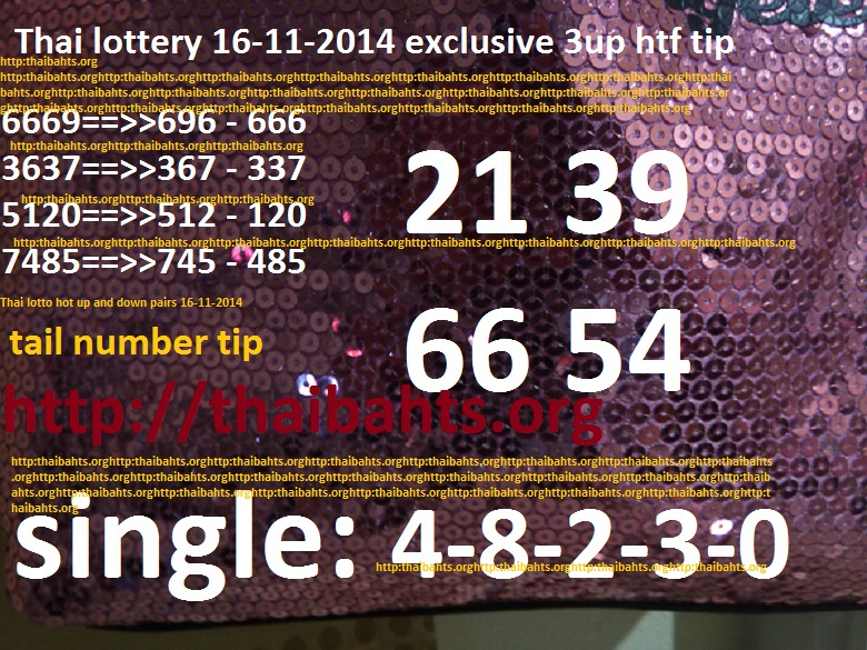 Thai lottery 16-11-2014 exclusive tip