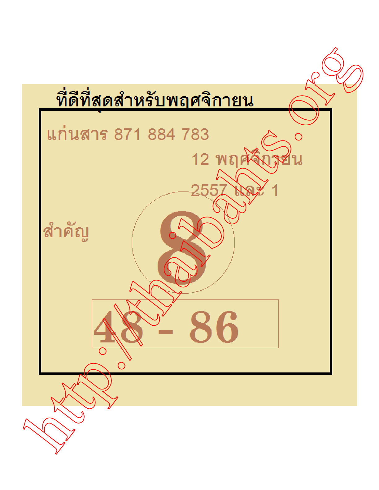 latest guess sheet for Thai lottery 16-11-2014