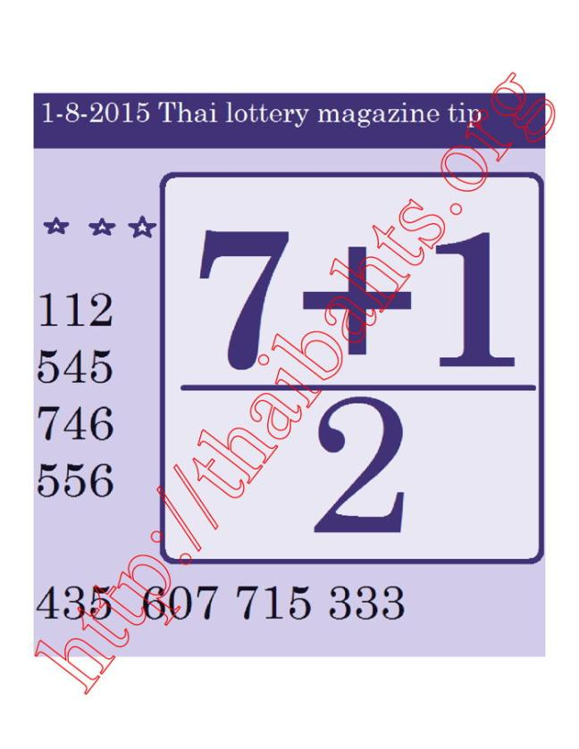 1.08.2015 Best back up Thai lottery numbers to play