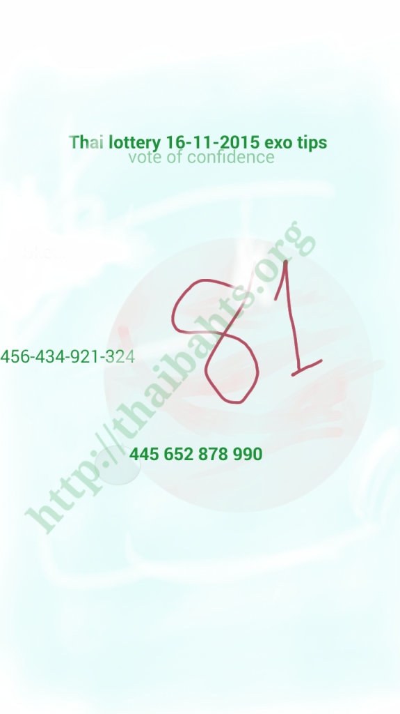 Thailand lottery tip 16.11.2015