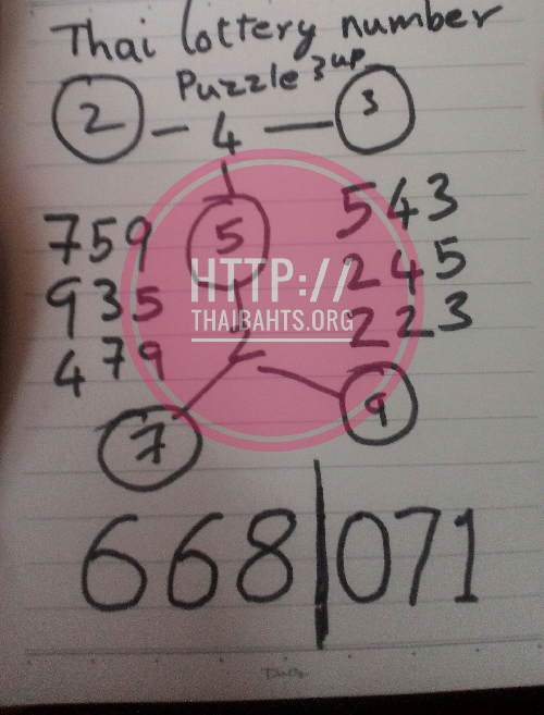 Thai lottery results 1-4-2017 3up HTF hand written