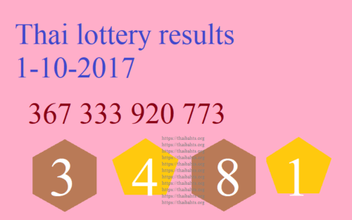 Thai lottery results 1-10-2017 important numbers