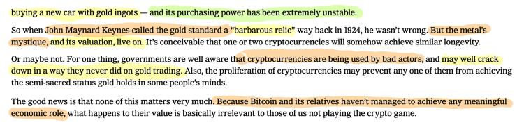 Paul Krugman Opinion cryptocurrency bitcoin