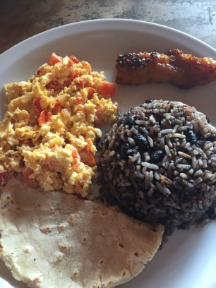 """Gallo Pinto"" - the most famous local dish, typically eaten at breakfast."