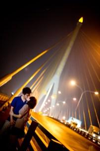 Bangkok, Thailand - Engagement session taken on a suspension bridge in Bangkok.