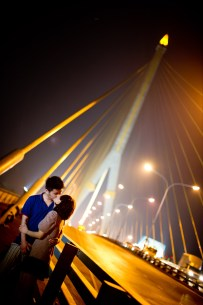 Bangkok, Thailand - Engagement session taken on a suspension bridge in Bangkok.