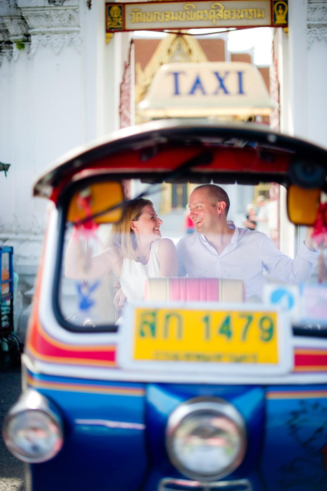 Engagement Session (Pre-Wedding) at Railway Park + Marble Temple + Rama VIII Suspension Bridge in Bangkok Thailand