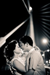 Bangkok night pre-wedding photo shoot on Rama VIII Bridge