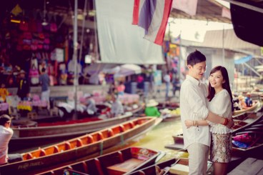 Yuchen and Wenquan's Damnoen Saduak Floating Market pre-wedding (prenuptial, engagement session) in Ratchaburi , Thailand. Damnoen Saduak Floating Market_Ratchaburi _wedding_photographer_Yuchen and Wenquan_0346.TIF