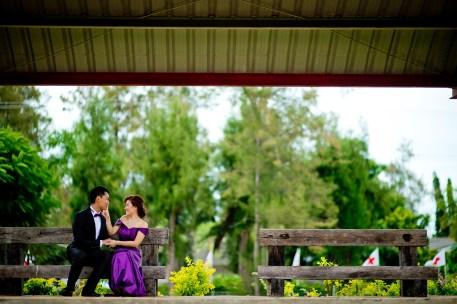 Hua Hin, Thailand - Pre-Wedding (Engagement) photo taken at a railway station (train station) in Hua Hin, Thailand.