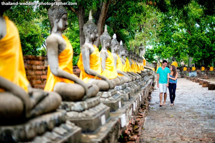 American Couple's Wat Yai Chai Mongkhon pre-wedding (prenuptial, engagement session) in Ayutthaya, Thailand. Wat Yai Chai Mongkhon_Ayutthaya_wedding_photographer_American Couple_01.JPG