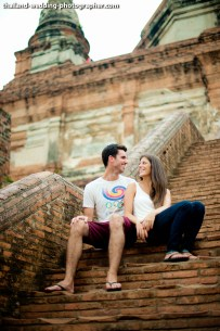 American Couple's Wat Yai Chai Mongkhon pre-wedding (prenuptial, engagement session) in Ayutthaya, Thailand. Wat Yai Chai Mongkhon_Ayutthaya_wedding_photographer_American Couple_06.JPG
