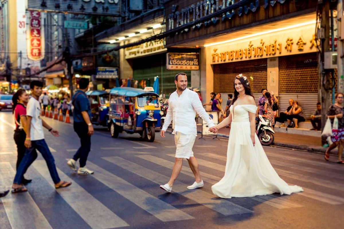 Thailand Bangkok Engagement Session | Siam - Rama VIII Bridge - China Town